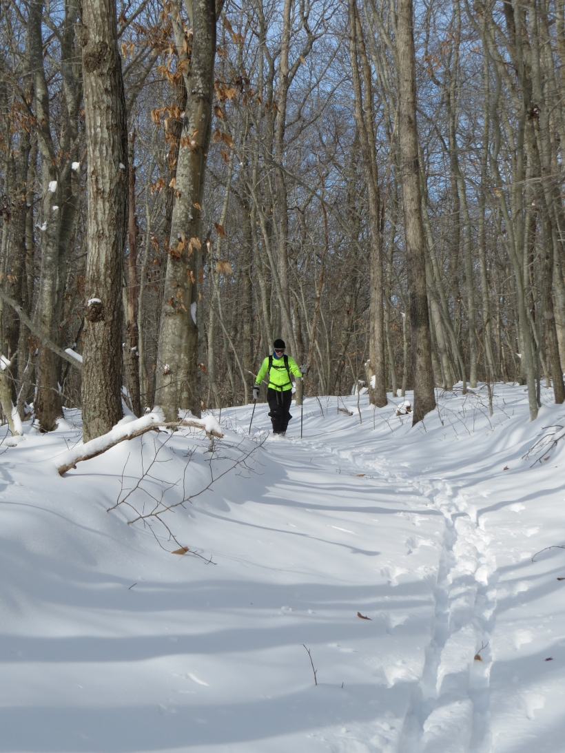Skiing Stony Hill trails in East Hampton: enjoying the light, fluffy snow in late January
